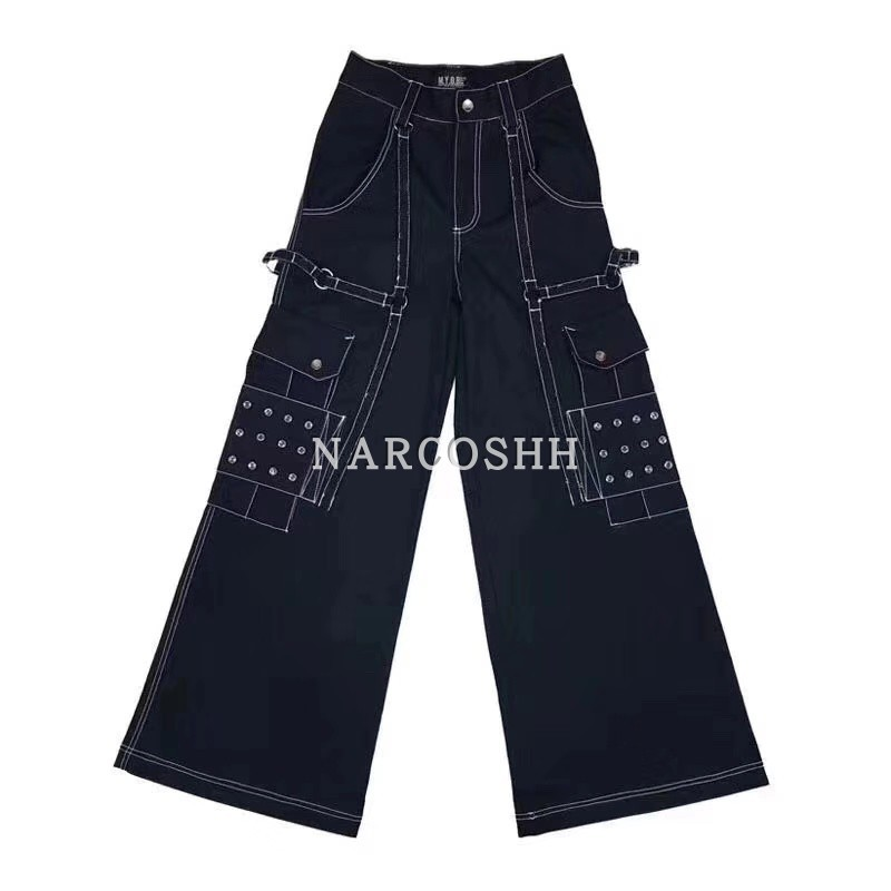 DEAT 2019 new spring fashion women clothes high waist pants metal line straight wide legs pants