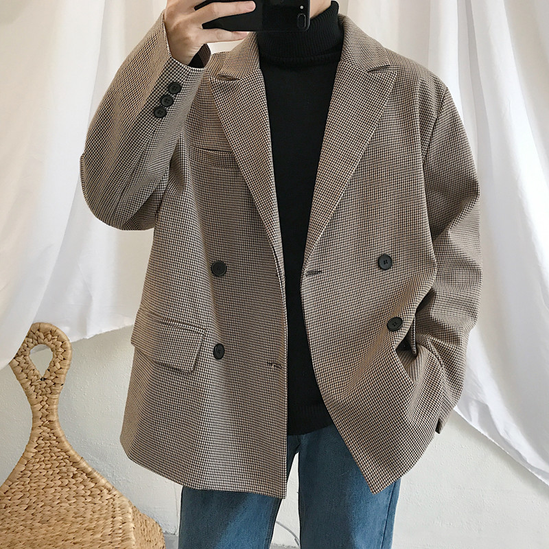 2019 Spring Men's Casual Blazers Suit Jackets Clothes Single Western Loose Coat Fitted Cotton Lattice Printing Outerwear S-XL