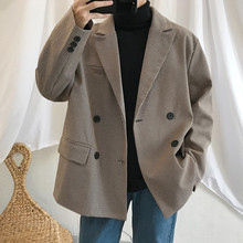 2019 Spring Mens Casual Blazers Suit Jackets Clothes Single Western Loose Coat Fitted Cotton Lattice Printing Outerwear S XL
