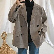 2019 wiosna mężczyzna dorywczo garnitur Blazers kurtki ubrania pojedyncze zachodniej luźny płaszcz wyposażone bawełna krata drukowania odzieży wierzchniej S XL