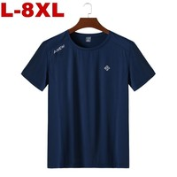 2019 Plus Size Quick Drying 6xl 7xl 8xl Men Big Tall T shirt Short Sleeves Oversized T Shirt Male Large Tee Summer Fit T Shirt