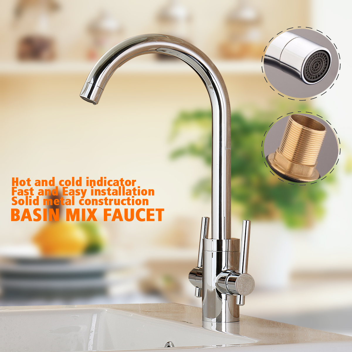 Kitchen Double Handles Hot And Cold Mixer Water Tap Basin Faucet Spout 360Rotation Chrome Polished Sink Water Tap Deck Mounted kitchen sink faucet deck mounted chrome polished basin faucet hot