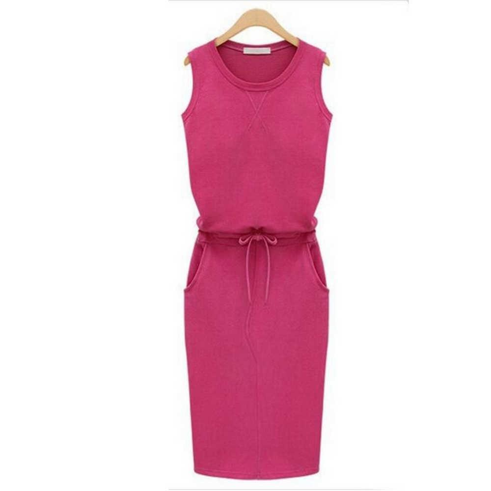 Jocoo Jolee 여성 인과 민소매 포켓 연필 드레스 2020 여름 솔리드 Drawstring 허리 비치 파티 Sundress