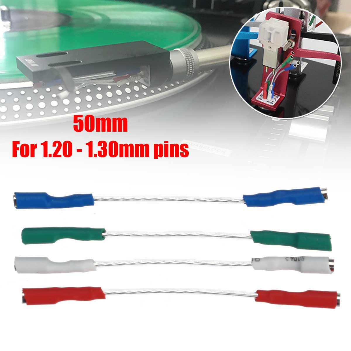 4Pcs 50mm 5N Pure Sliver Leads Header Wire Cable  Universal For 1.2-1.3mm Pins Turntable Phono Headshell4Pcs 50mm 5N Pure Sliver Leads Header Wire Cable  Universal For 1.2-1.3mm Pins Turntable Phono Headshell