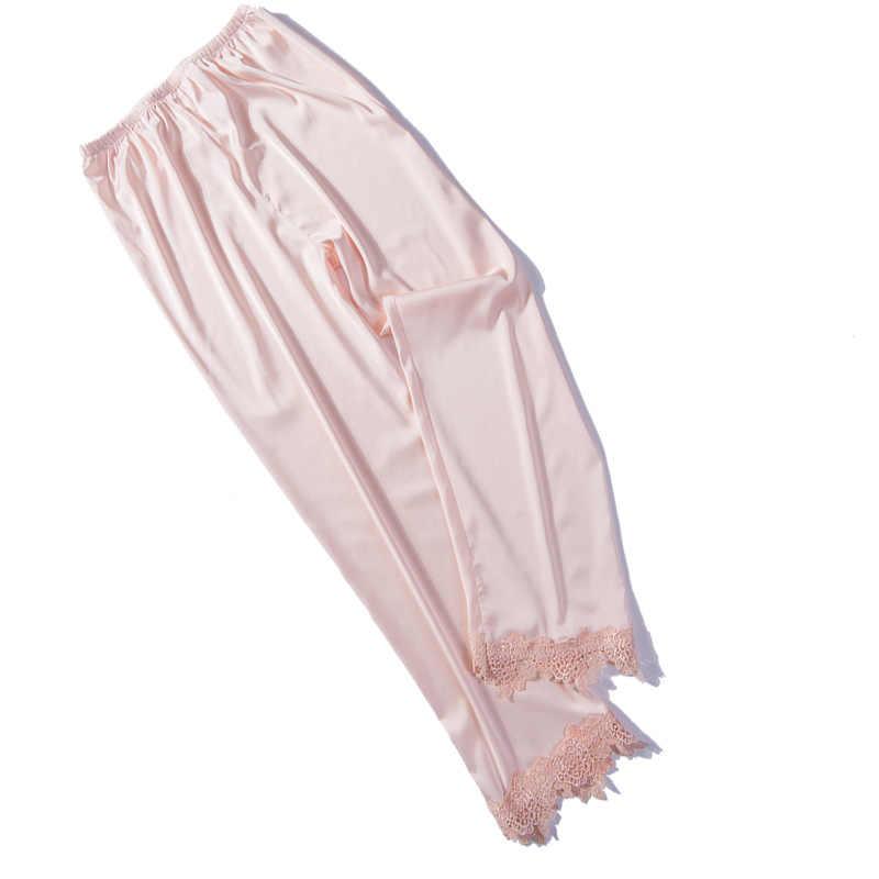 b74735fc7d ... Women Satin Pyjamas Bottoms Sleep Trousers Loose Casual Pajamas  Nightwear Lounge Pants Sleepwear Homewear