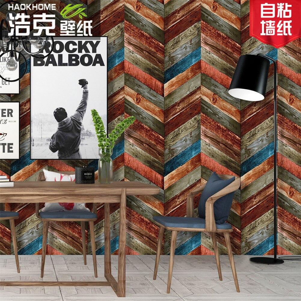 Maison Vintage coloré géométrique Grain de bois imperméable vinyle papier peint dortoir meubles rénovation auto-adhésif porte autocollant