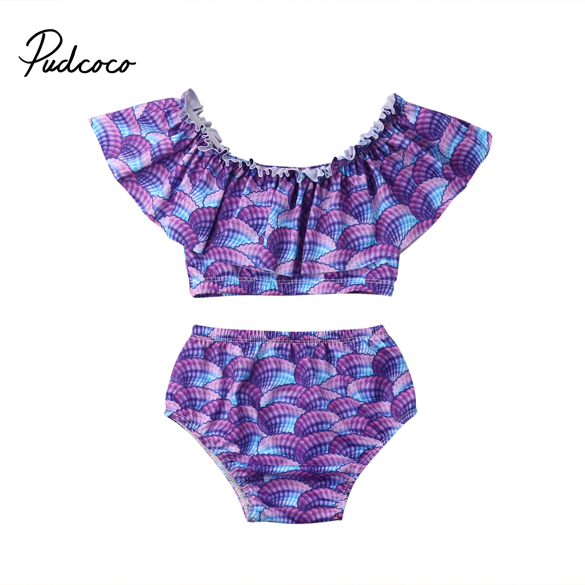 2pcs Toddler Baby Girl Mermaid Scale Cool Dew Belly Doll Collar Swimwear Bathing Suit Bikini Swimsuit Set