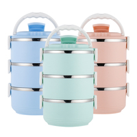 Thermos Child For Food Soup Container Stainless Steel Lunch Box Thermo 3 Layer Thermal Container Insulation 3 Colors Lunchbox