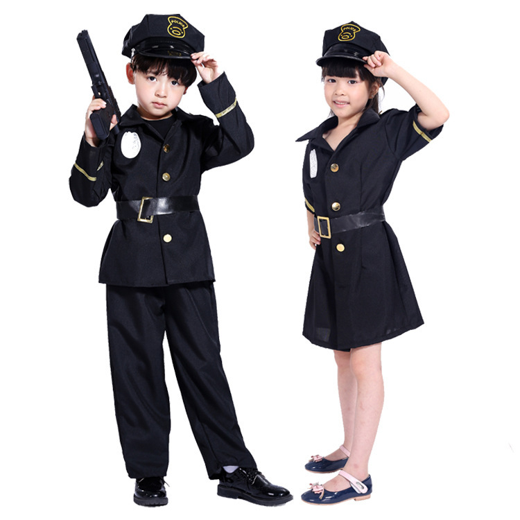 Home Bright News 4pcs Set Police Uniform Carnival Halloween Costume For Kids Fancy Clothing Boys Cosplay Cool Policeman Party Girl Disguise