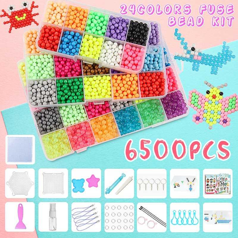 6500 piezas 24 color cuentas de fusibles recarga Compatible Beados pegajoso mágico perlas de agua arte juguetes educativos para niños de 3D rompecabezas