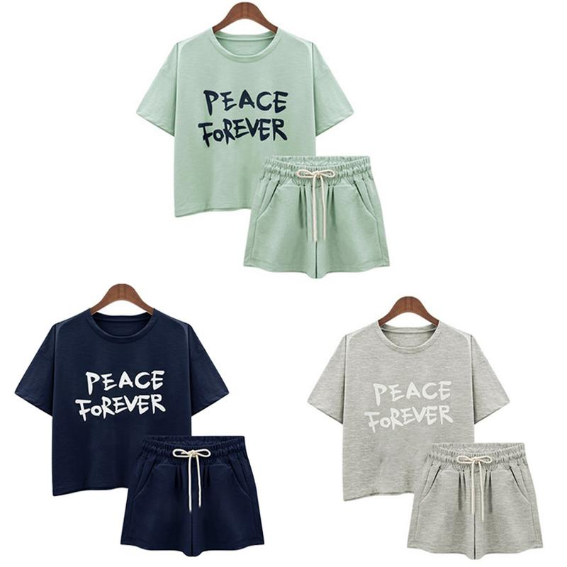 New Korean Style Sports Suit Casual Loose Short-Sleeved T-Shirt With Letter Short Pants For Female In Summer Plus Size