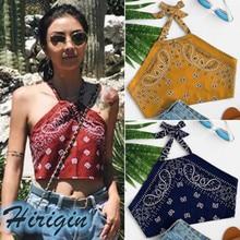 Casual Tops Womens Bohemian Print Off Shoulder Backless Printing Tank Summer Sexy Halter Short Corp