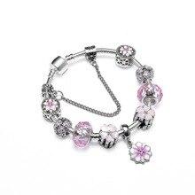 Original Pink Flower Bracelet & Bangle With Crystal Beads Charm Bracelets For Women DIY Fashion Jewelry Handmade For Girl Gift недорого