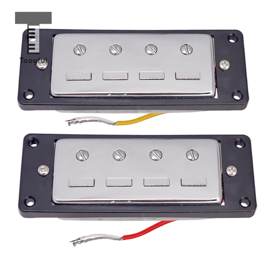 2pcs Plastic Electric Guitar Humbucker Pickups Bridge Neck Set with Black Frame for 4 String Electric Bass Pickups DIY Accessory in Guitar Parts Accessories from Sports Entertainment