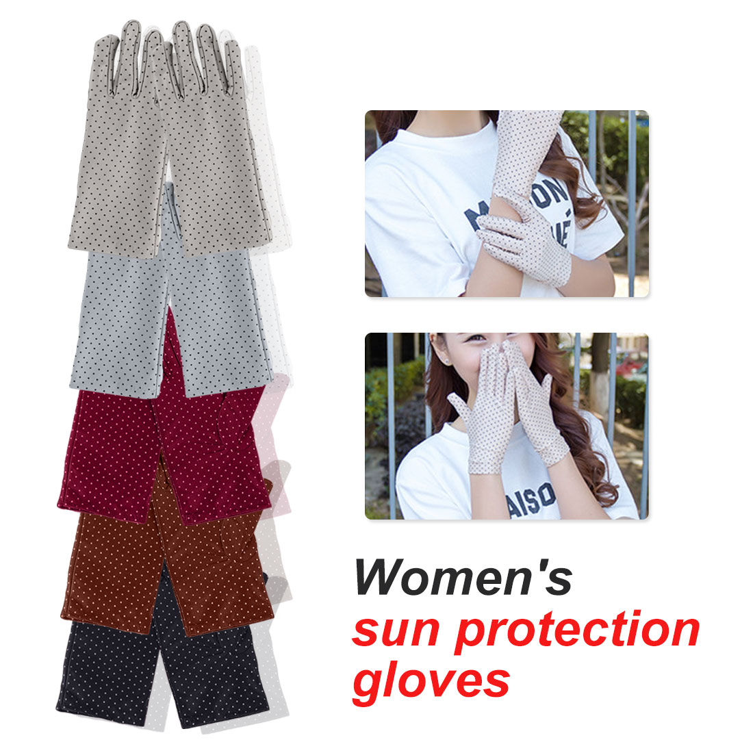 Black 2019 Women's Driving Slip-resistant Sunscreen Cotton Golves Fashion 1 Pair Summer/Autumn Sun Protection Non-slip Glove