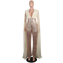 639a1124c836 Plus Size Womens Cloak Sequined Clubwear Party Casual Skinny Charms Apricot  Black Red Jumpsuit Bodycon Sequin