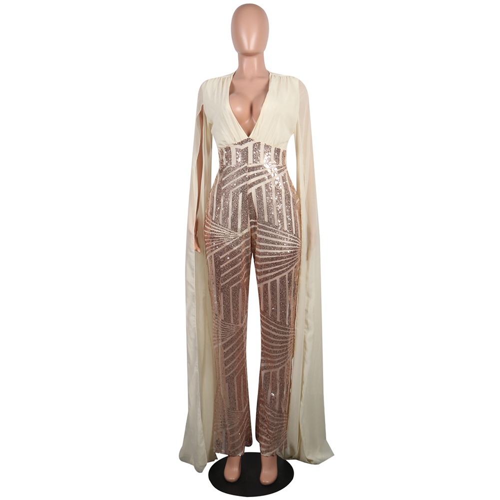 Plus Size <font><b>Womens</b></font> Cloak Sequined Clubwear Party Casual Skinny Charms Apricot Black Red <font><b>Jumpsuit</b></font> <font><b>Bodycon</b></font> <font><b>Sequin</b></font> <font><b>Fashion</b></font> Sets image