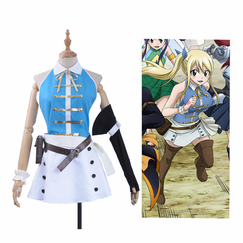 In Stock Anime Fairy Tail Cosplay Lucy Heartfilia Cosplay Costume Sexy Open Back Top White Mini