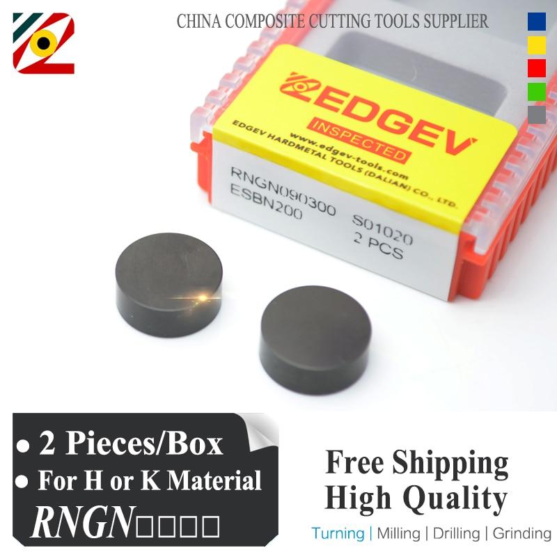 EDGEV Round Solid CBN Inserts RNGN RNGN0603 RNGN0903 RNGN0904 RNGN1203 RNGN1204 RNGN1207 RNMN Supper Hard Tools Rolls Brake Disk