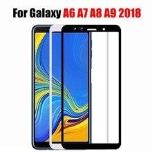 Protector de pantalla de cristal 5d para samsung galaxy, protector de pantalla de vidrio templado para samsung galaxy a6, a7, a8, a9 2018, a6plus, a8plus, tremp, a 6, 8, 7, 9