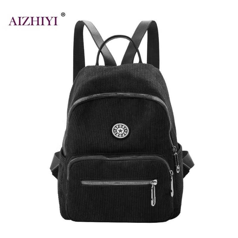 Backpacks Open-Minded Women Preppy Style Schoolbags Soft Fabric Backpack Female Corduroy Design School Bagpack For Teenage Girls Striped Backpack Top Watermelons