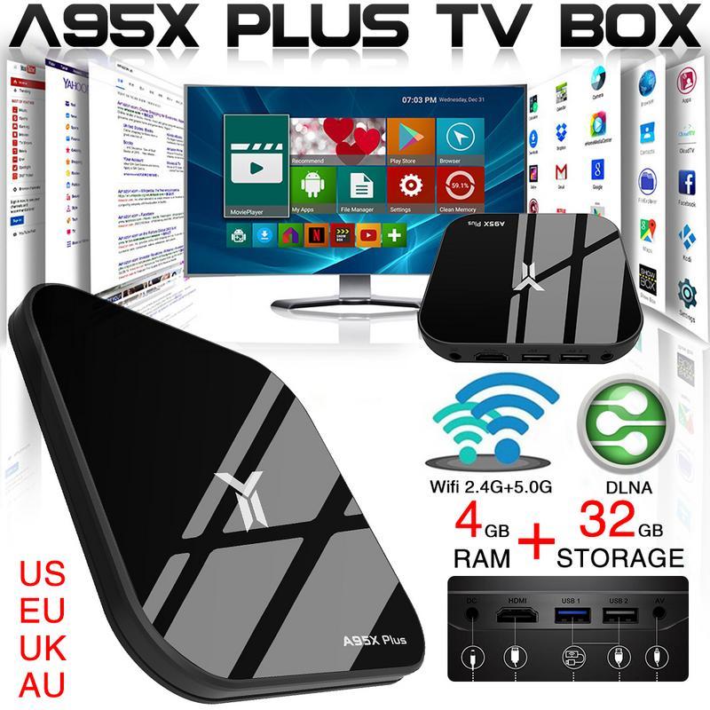 A95X PLUS TV décodeur 4G/32G S905 Y2 lecteur réseau HD Android 8.1 Gigabit Bluetooth avec HDMI TV Stick télécommande