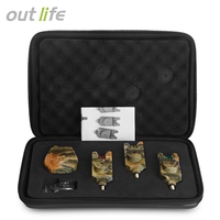 Outlife JY 35 3 Wireless Remote Sense Camouflage Fishing Bite Alarm Set With Receiver Case