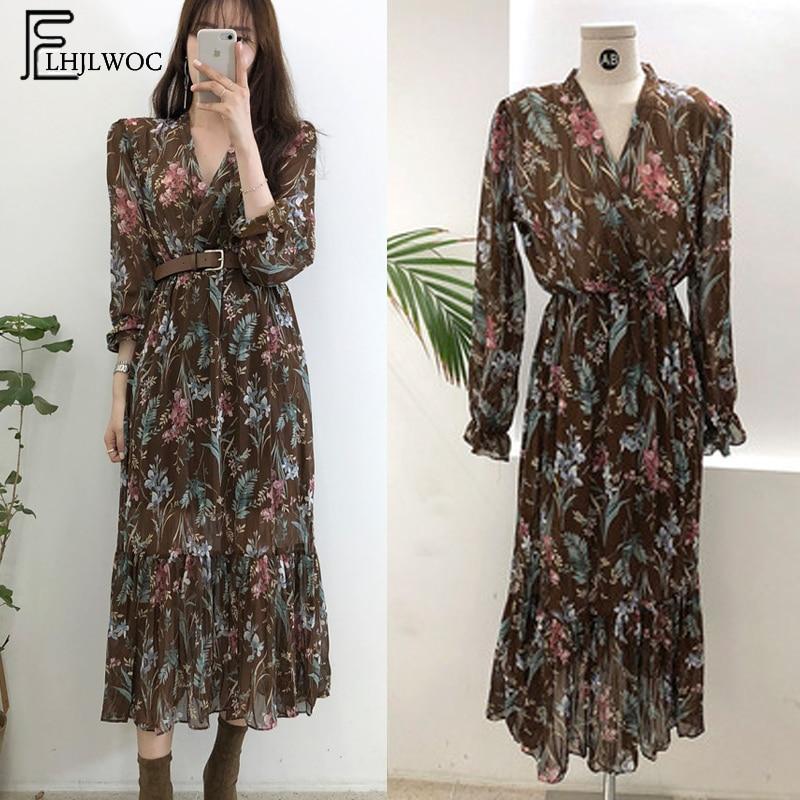 2019 Temperament Dress Women Korean Style Casual Date Wear New Year Cute Slim Waist Floral Printed Chiffon Vintage Dress Long
