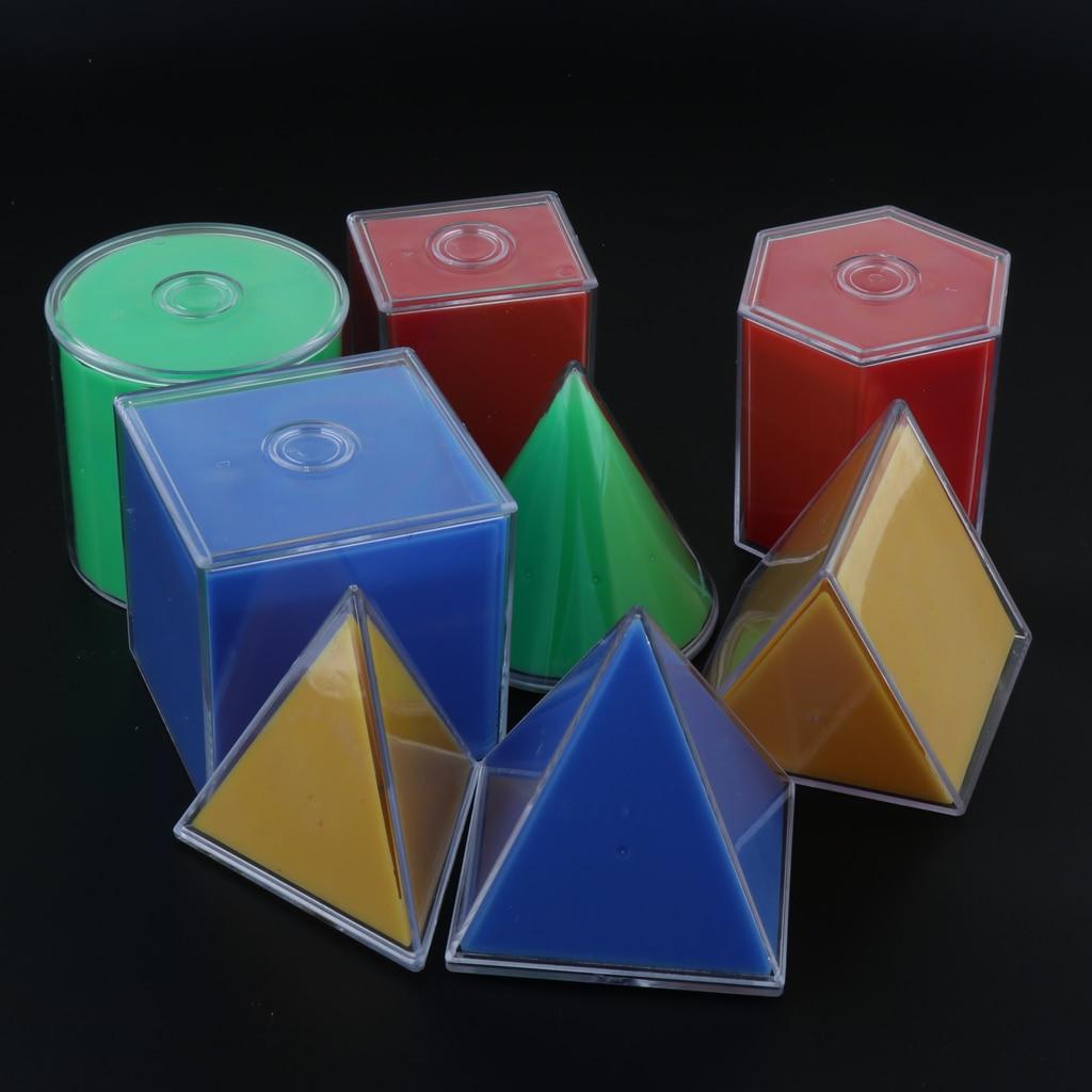 8 pièces Multicolore Détachable Solides Géométriques, Enfants Tout-petits Montessori Mathématiques Apprentissage Jouet Kit