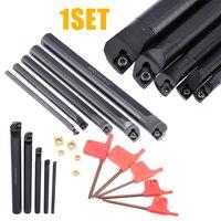 5pcs SCLCR09 Boring Bar 7/10/12/16/20mm Lathe Turning Tool Holder + 5pcs Insert + 5pcs Wrench
