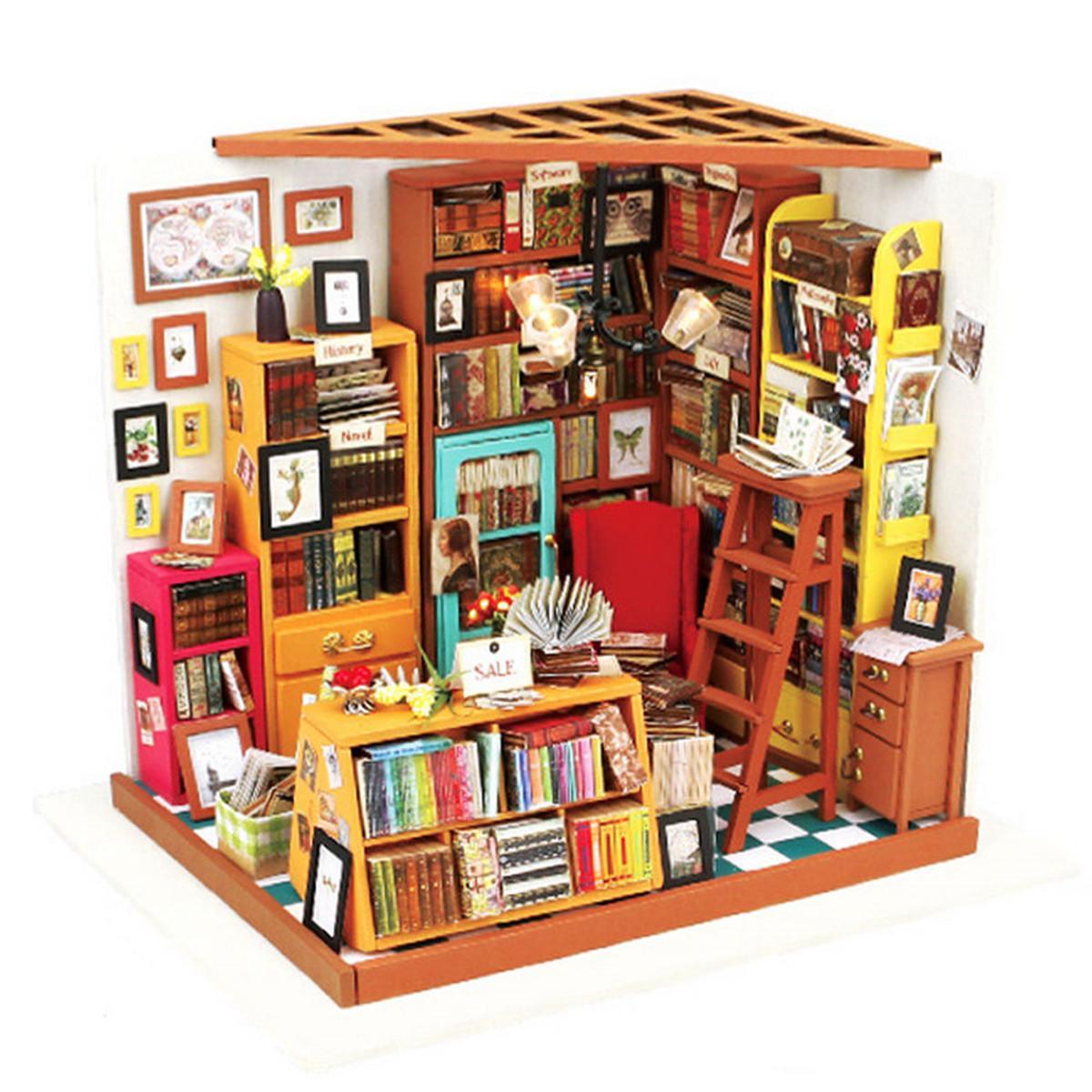 BRICOLAGE Maison de Poupée Jouet Simulation Kit Librairie Dollhouse 3D Meubles Livre Bibliothèque LED Boîte à Lumière Modèle Enfants Assembler Jouet Cadeau