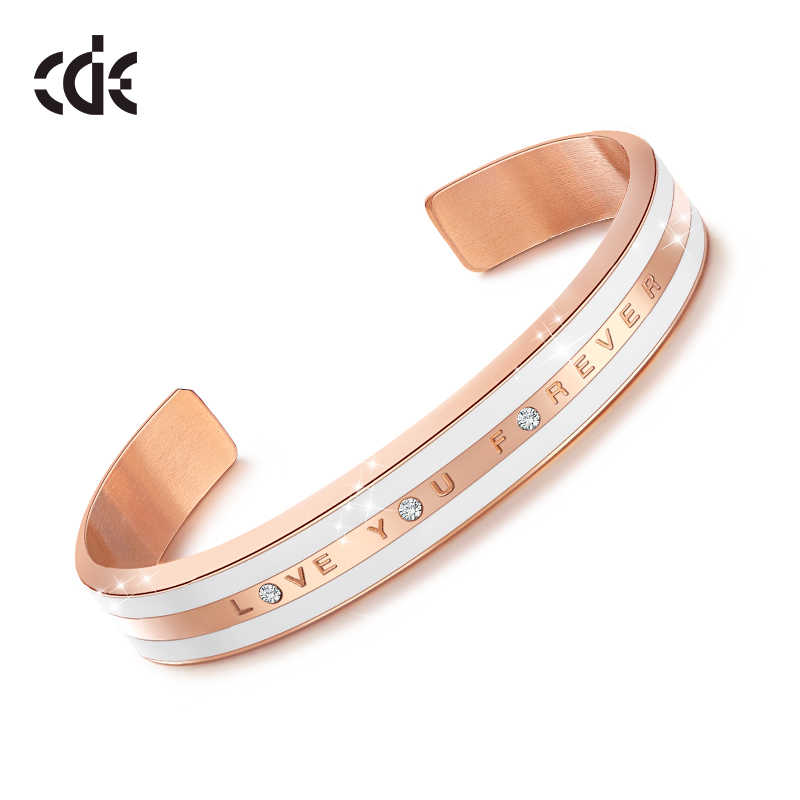 CDE Women Gold Bracelets Bangles Embellished with crystals 18K Rose Gold LOVE YOU FOREVER Statement Jewelry