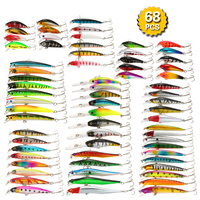 68pcs Ice Fish Lure Crankbaits Artificial Hard Lure Bait Mixed Fishing Lure Set Kit Winter Minnow Lures Bass Carp Fishing Tackle