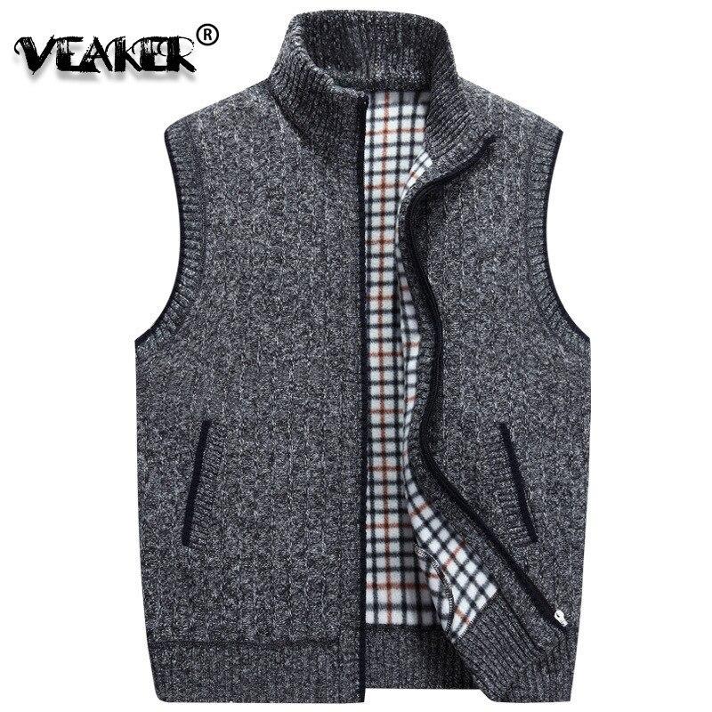 Wool Sweater Knitted Vest Jacket Fleece Warm Winter Plus-Size Mens Sleeveless M-3XL
