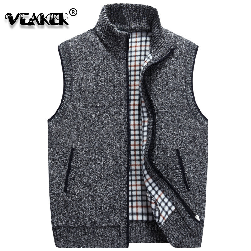 Fashion Mens Winter Wool Sweater Vest Mens Sleeveless Knitted Vest Jacket 2019 New Warm Fleece Warm Sweatercoat Plus SIze M-3XL