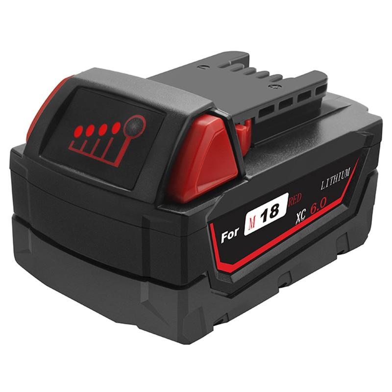 6.0Ah 108Wh Li-Ion Tool Battery For Milwaukee M18 48-11-1815 48-11-1850 Replacement M18 Battery 2646-20 2642-21Ct6.0Ah 108Wh Li-Ion Tool Battery For Milwaukee M18 48-11-1815 48-11-1850 Replacement M18 Battery 2646-20 2642-21Ct