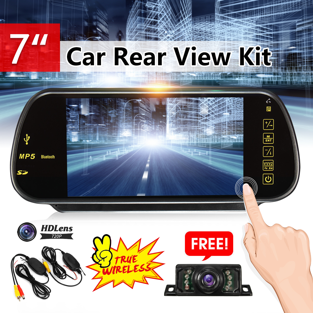 7 Inch LCD T ouch Screen bluetooth Car MP5 Player Radio Reversing Backup Rearview Camera Parking Mirror Monitor Remote Control7 Inch LCD T ouch Screen bluetooth Car MP5 Player Radio Reversing Backup Rearview Camera Parking Mirror Monitor Remote Control