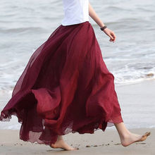 Summer Casual Skirts HOT Women Boho Double Layer Chiffon Long Maxi Elastic High Waist Pleated