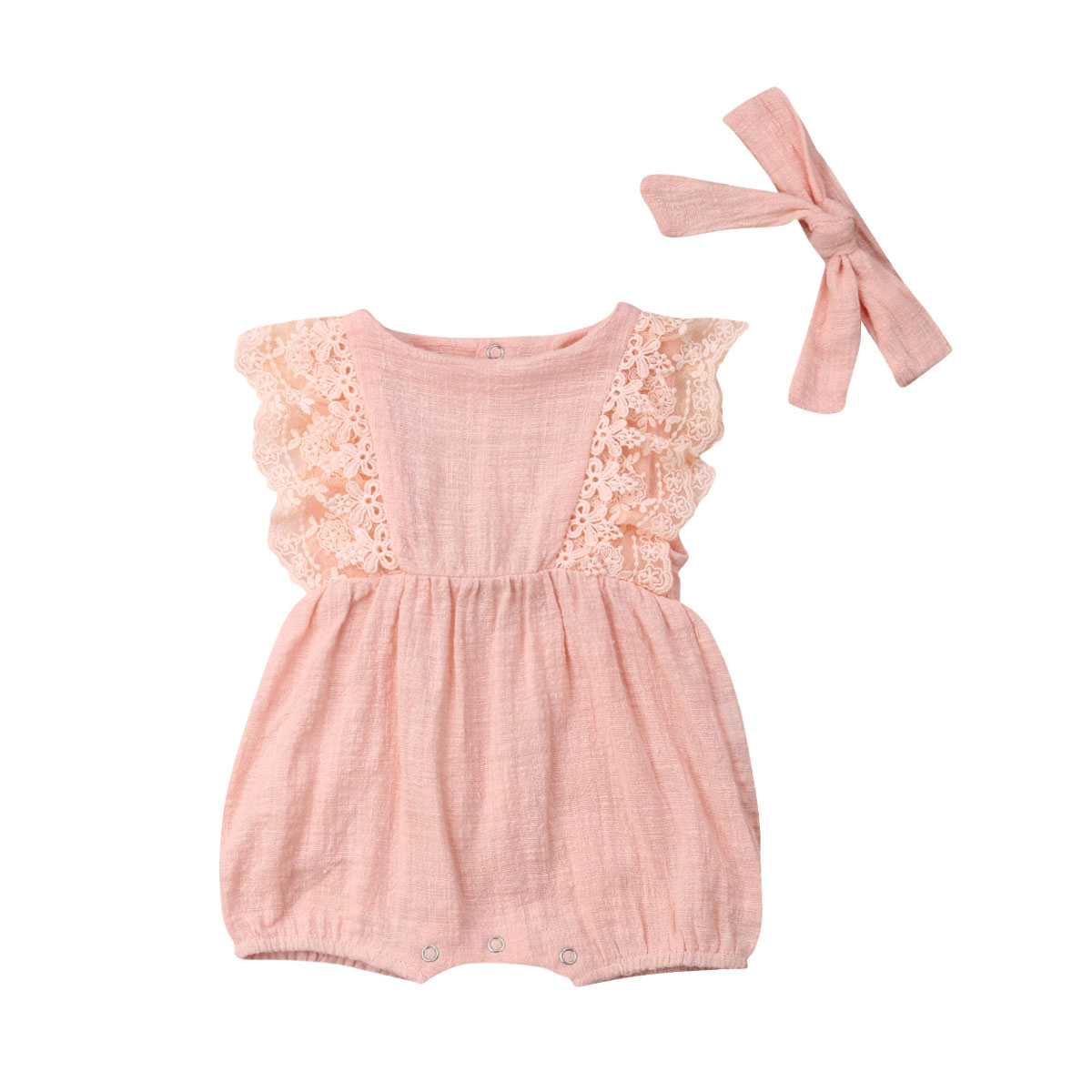 Newborn Infant Baby Girl Lace Romper Backless Jumpsuit Cute Summer BabyOutfit Sunsuit Clothes