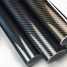 5D автомобиля Стикеры 50*200 см Глянцевая углеродного волокна виниловая оберточная пленка Фольга Водонепроницаемый DIY декоративная наклейка на автомобиль чёрный для автомобильного стайлинга наклейка