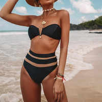Dame Sexy Bikini 2019 Hohe Taille Solid Black Weiß Mesh Push-Up Padded Badeanzug Bademode Badeanzug Bikinis set Frauen