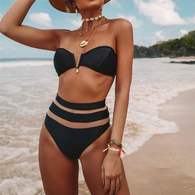 Lady Sexy Bikini 2020 High Waist Solid Black White Mesh Push-up Padded Swimsuit Swimwear Bathing Suit Bikinis Set Women