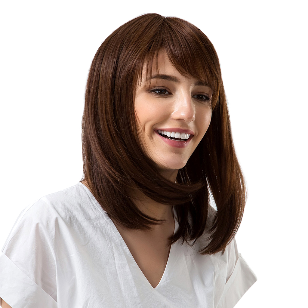14'' Natural Short Straight Wavy Wigs for Women Brown Lady Bangs Hairpieces graceful short side bang fluffy natural wavy capless human hair wig for women