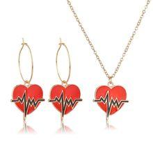 57766052a YANGQI Trendy Brincos   Colar Jogo Para Mulheres Mulheres Vermelho Pingente  de Coração Da Moda Jóias Europeu Moda Jóias de Casam.