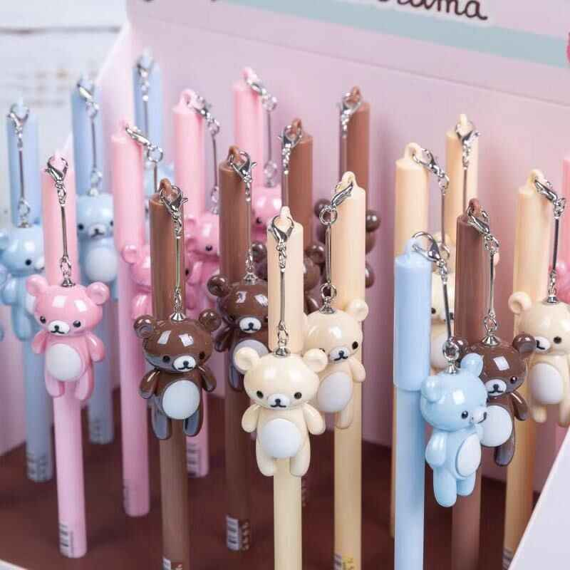 Lovely Rilakkuma Bear Pendant Gel Pen Signature Pen Escolar Papelaria School Office Supply Promotional Gift
