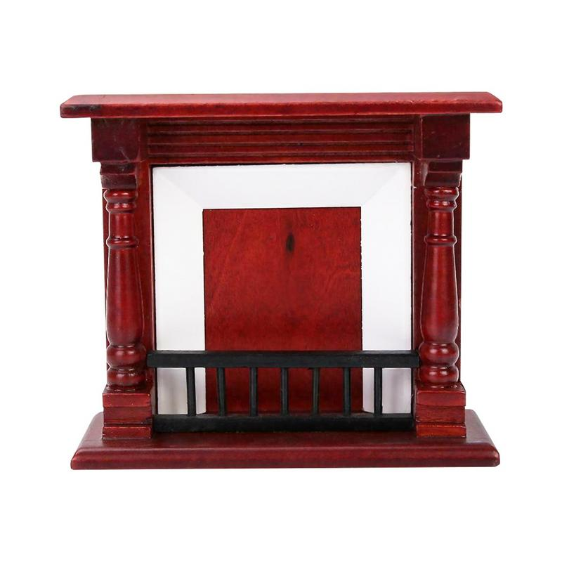 Red Wooden End Table Furniture Accessories For 1:12 Dollhouse Decoration