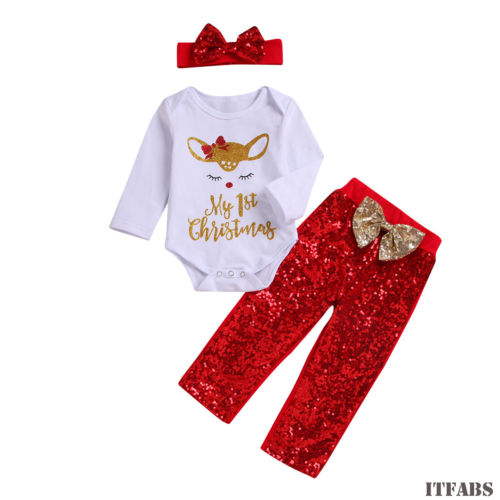 My 1st Christmas Newborn Toddler Kid Long Sleeve Deer Romper Tops+Bow Sequins Pants Outfits Baby Girls 3Pcs Clothes Set 0-24M