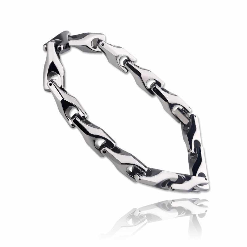 New Vintage Silver Tones Men's Solid Heavy Wheat Tungsten Carbide Chain Bracelets High Polished Never Fade Scratch Proof 21cm