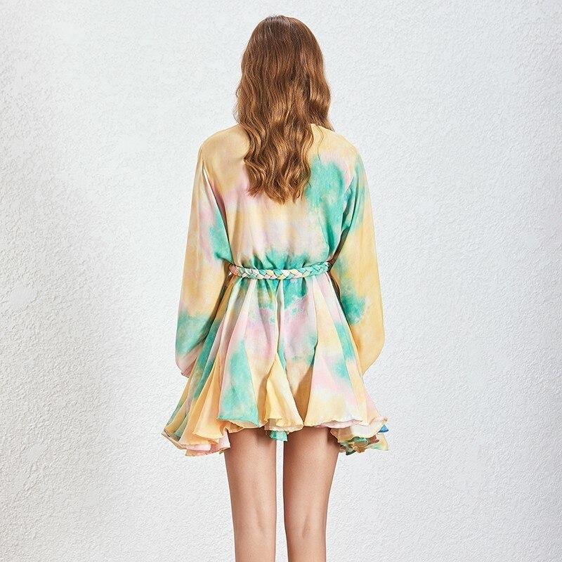 Two twinstyle printemps irrégulière Hit couleur Patchwork femmes robe O cou bouffée manches Bandage robes femme 2019 décontracté mode nouveau - 4