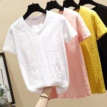 New Banulin 100% Cotton V-Neck Harajuku Tshirt 2019 Summer Womens Short Sleeve Solid Sweet Tops & Tees Fashion Casual T Shirt